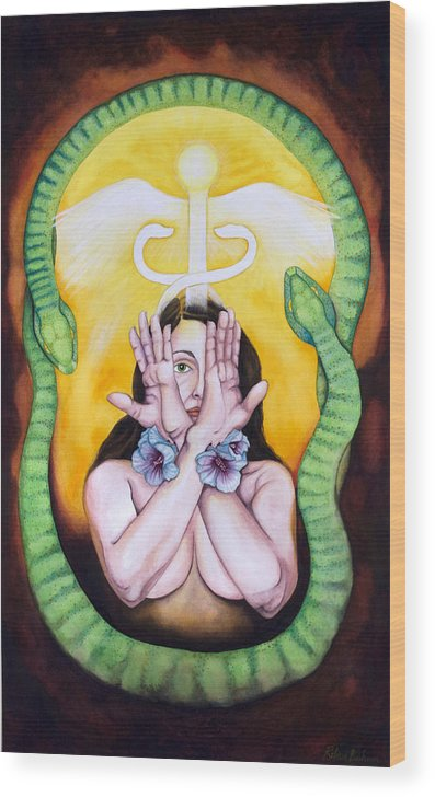 Eve Wood Print featuring the painting The Serpent's Gift by Rebecca Barham