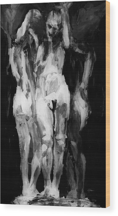 Mixed Media Wood Print featuring the mixed media The Weight 2 by Jim Vance