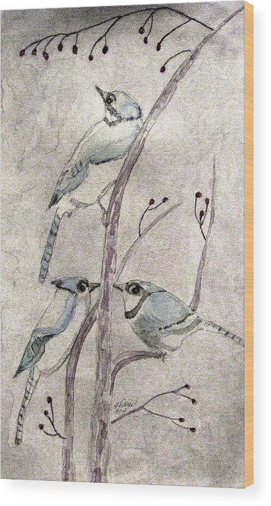 Watercolors Wood Print featuring the painting Three by Angela Davies