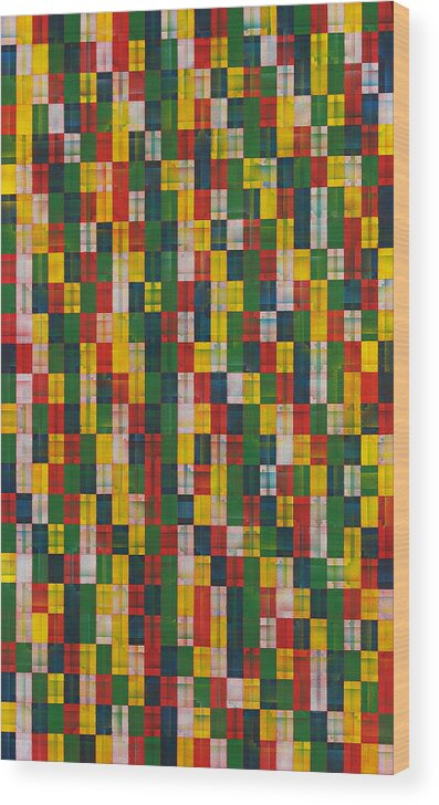 Abstract Pattern White Yellow Green Red Wood Print featuring the painting Fac5vertical by Joan De Bot