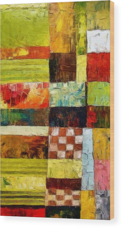 Patchwork Wood Print featuring the painting Abstract Color Study With Checkerboard And Stripes by Michelle Calkins