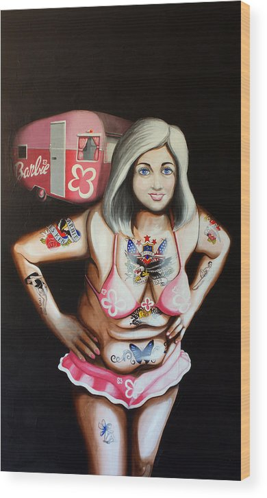 Barbie Wood Print featuring the painting Barbielicious by Matthew Lake