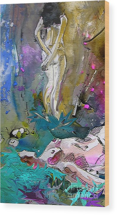 Miki Wood Print featuring the painting Eroscape 1104 by Miki De Goodaboom