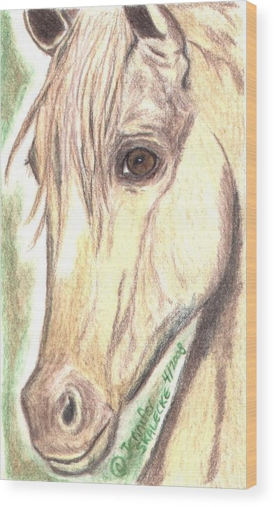 Horse Wood Print featuring the drawing Flirt by Jennifer Skalecke