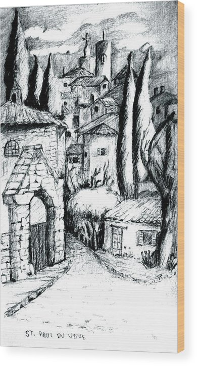 French Village Wood Print featuring the drawing French Village by Dan Earle