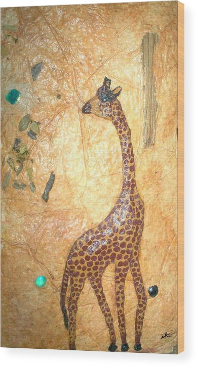 Giraffe Wood Print featuring the mixed media Giraffe  Sold by Tinsu Kasai