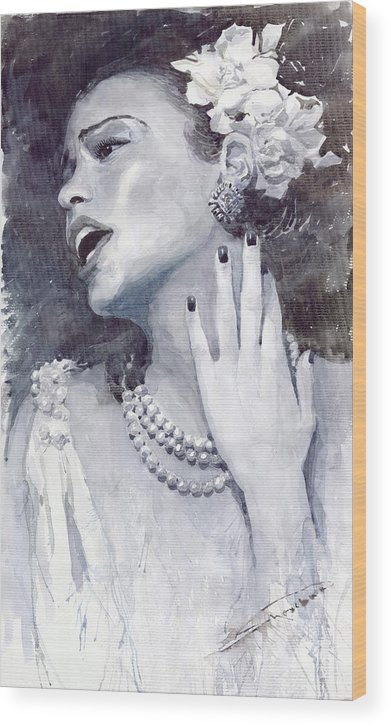 Billie Holiday Wood Print featuring the painting Jazz Billie Holiday by Yuriy Shevchuk