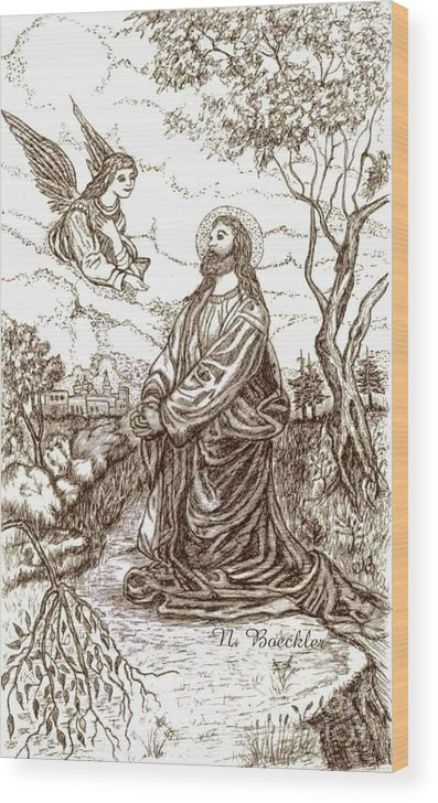 Christian Paintings Wood Print featuring the painting Jesus In The Garden Of Gethsemane by Norma Boeckler