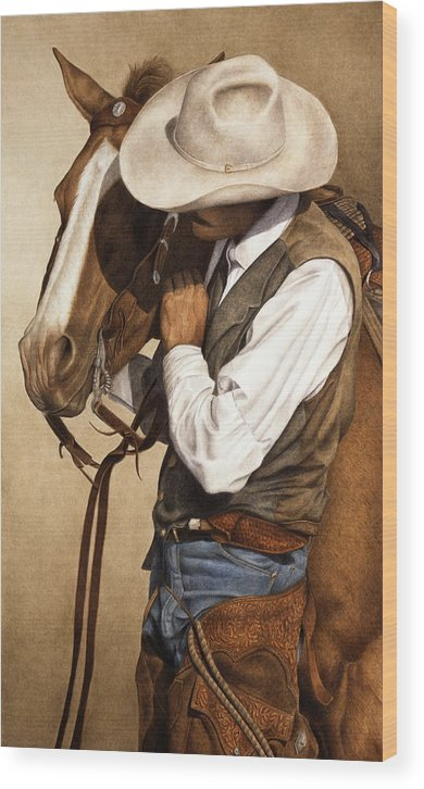 Western Wood Print featuring the painting Long Time Partners by Pat Erickson