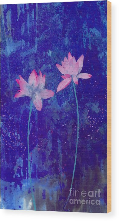 Free Style Pink Lotus Flowers In Bluish Background. This Is A Contemporary Chinese Ink And Color On Rice Paper Painting With Simple Zen Style Brush Strokes.  Wood Print featuring the painting Lotus I by Mui-Joo Wee