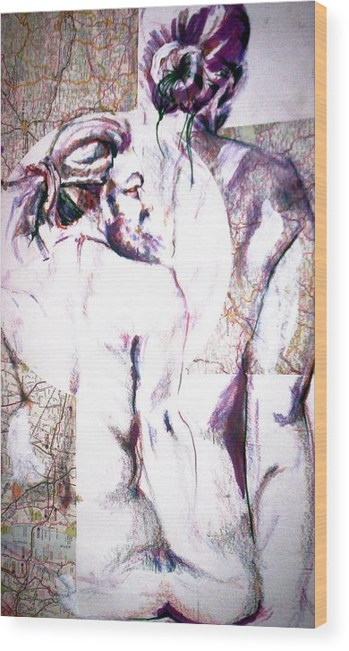 Male Wood Print featuring the drawing Male Female Nude  by Dannielle Murphy