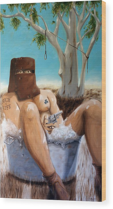 Ned Kelly Wood Print featuring the painting Ned Kelly by Matthew Lake