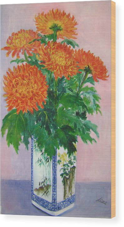 Floral Wood Print featuring the painting Red Chrysanthemums by Lian Zhen