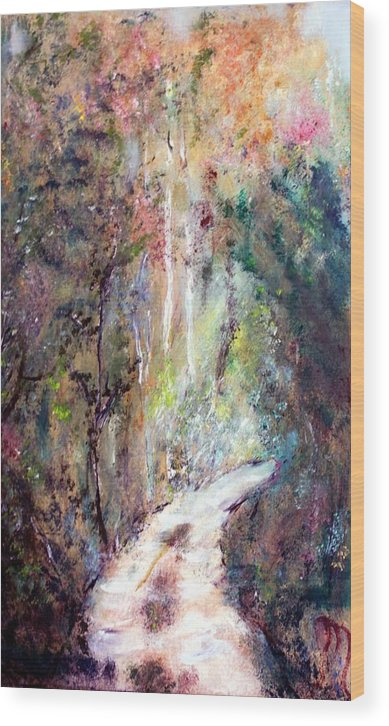 Landscape Wood Print featuring the painting Sanctuary by Michela Akers