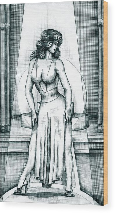 Figure Wood Print featuring the drawing The Performer by Scarlett Royal