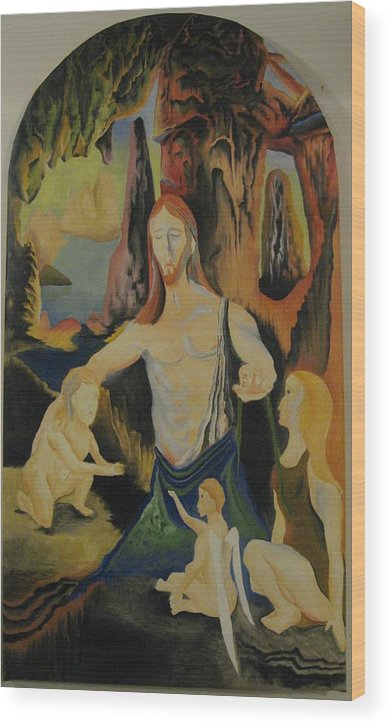 Wood Print featuring the painting The Virgin Of The Rocks by Ronnie Lee