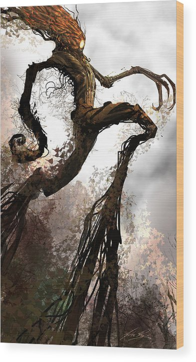 Concept Art Wood Print featuring the digital art Treeman by Alex Ruiz