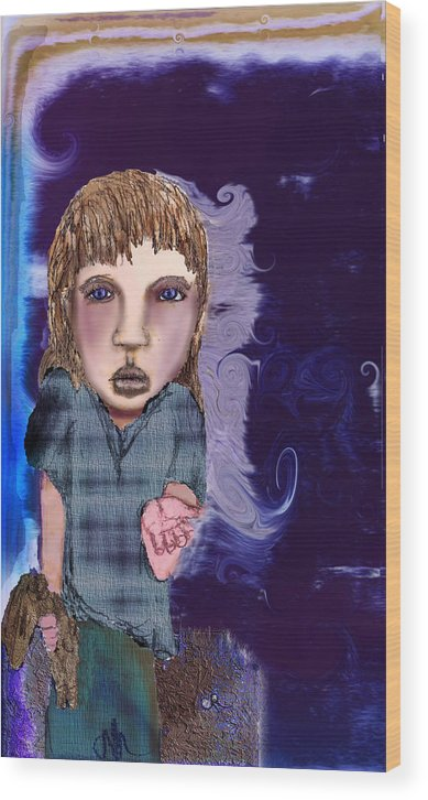 Girl Wood Print featuring the mixed media What by Cynthia Richards