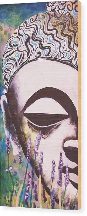 Buddha Wood Print featuring the painting Lavender Buddha Part One by Kevin J Cooper Artwork