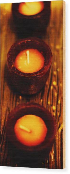 Candles Wood Print featuring the photograph 3 Of A Kind by Lounge Mode Production Art