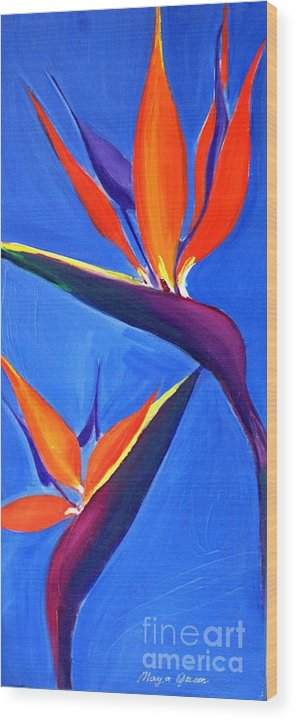 Artwork Wood Print featuring the painting Bird Of Paradise Flower by Maya Green