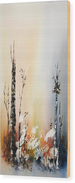 Snowey Scene Wood Print featuring the painting Cool Spring by Lynne Parker