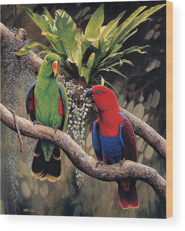 Parrot Wood Print featuring the painting Parrot by Raphael Sanzio