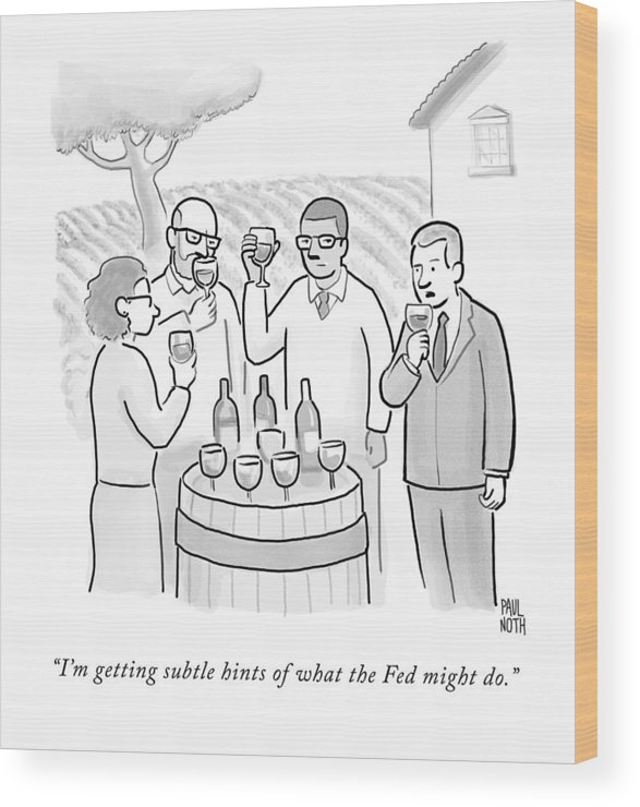 Wine Tasting Wood Print featuring the drawing A Group Sample Wine At A Wine Tasting Vineyard by Paul Noth