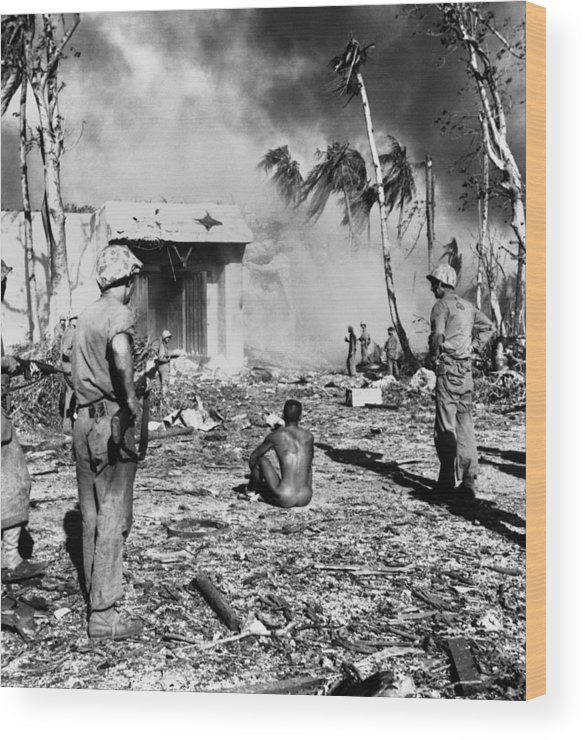History Wood Print featuring the photograph American Guards A Rare Japanese Pow by Everett