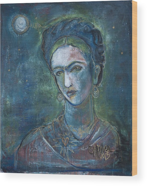 Frida Kahlo Wood Print featuring the painting Burn It Blue Frida by Laurie Maves ART