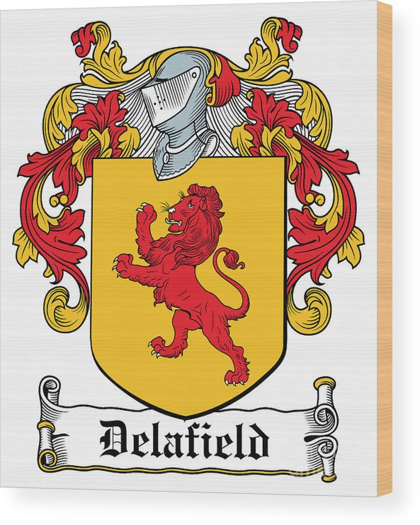 Delafield Wood Print featuring the digital art Delafield Coat Of Arms Irish by Heraldry
