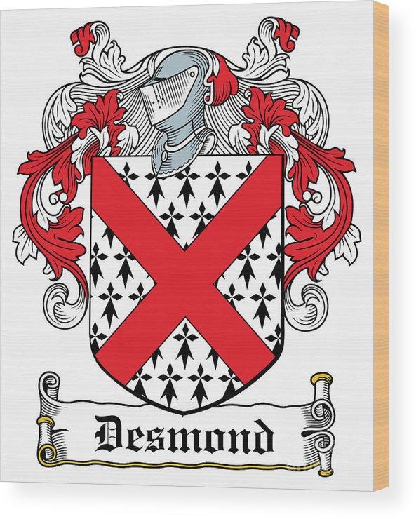 Desmond Wood Print featuring the digital art Desmond Coat Of Arms Irish by Heraldry