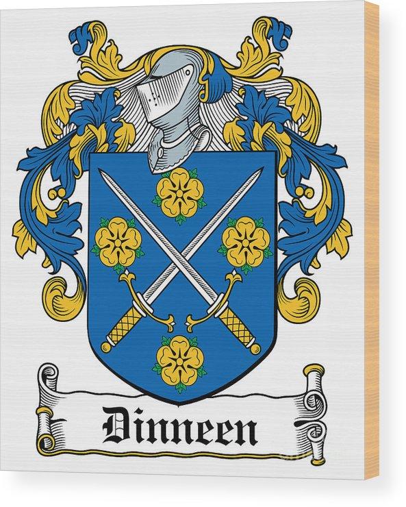 Dinneen Wood Print featuring the digital art Dinneen Coat Of Arms Irish by Heraldry