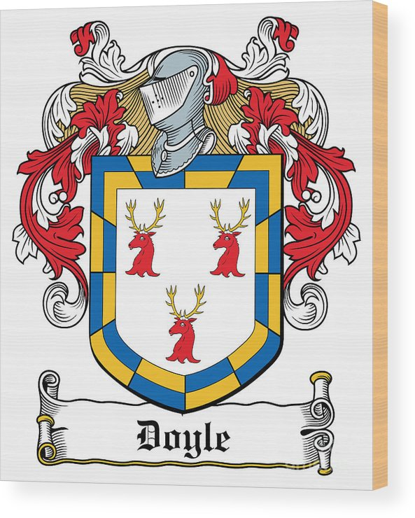 Doyle Wood Print featuring the digital art Doyle Coat Of Arms Wicklow Ireland by Heraldry