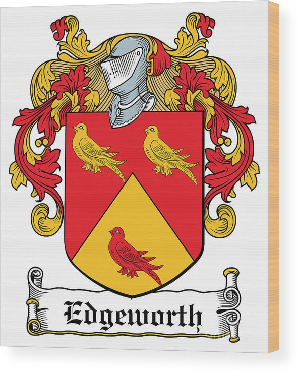 Edgeworth Wood Print featuring the digital art Edgeworth Coat Of Arms Longford Ireland by Heraldry