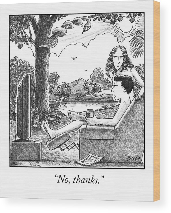 Ino Thanks.i Adam And Eve Wood Print featuring the drawing Eve Offers Adam An Apple by Harry Bliss