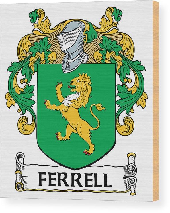 Ferrell Wood Print featuring the digital art Ferrell Coat Of Arms Longford Ireland by Heraldry