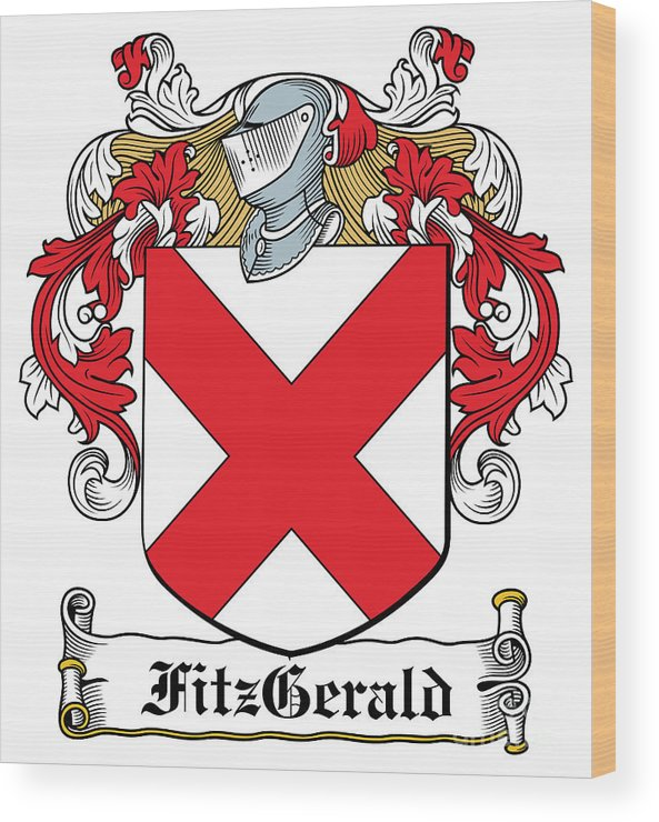 Fitz-gerald Wood Print featuring the digital art Fitzgerald Coat Of Arms Irish by Heraldry