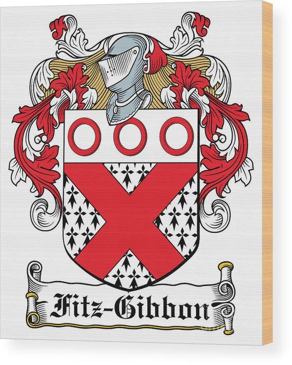 Fitz-gibbon Wood Print featuring the digital art Fitzgibbon Coat Of Arms Irish by Heraldry