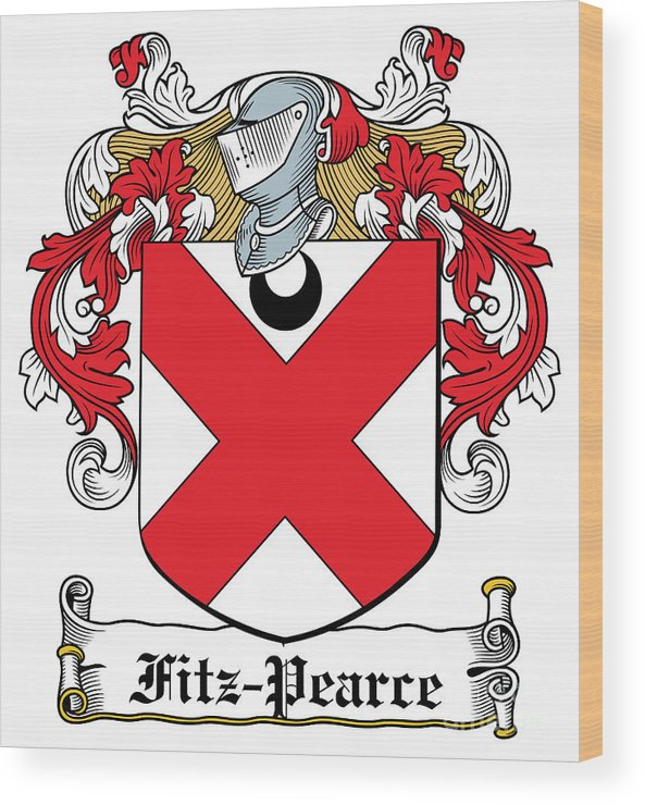 Fitz-pearce Wood Print featuring the digital art Fitzpearce Coat Of Arms Irish by Heraldry