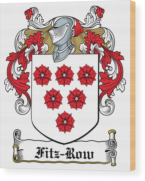 Fitz-row Wood Print featuring the digital art Fitzrow Coat Of Arms Waterford Ireland by Heraldry
