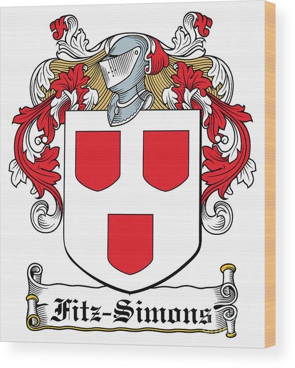 Fitz-simons Wood Print featuring the digital art Fitzsimons Coat Of Arms Irish by Heraldry