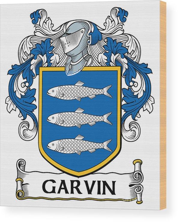 Garvin Wood Print featuring the digital art Garvin Coat Of Arms Irish by Heraldry