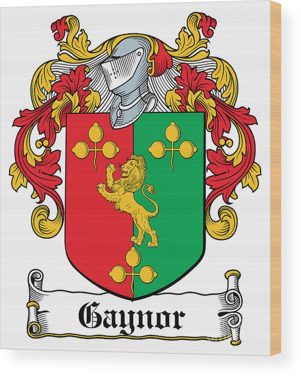 Gaynor Wood Print featuring the digital art Gaynor Coat Of Arms Meath Longford by Heraldry