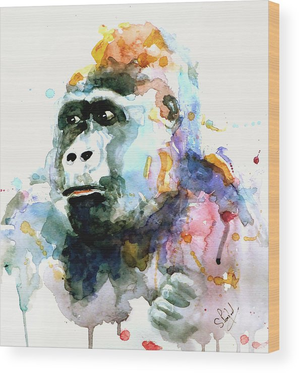 Gorrilla Wood Print featuring the painting Gorrilla by Steven Ponsford