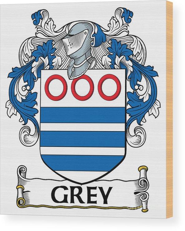 Grey Wood Print featuring the digital art Grey Coat Of Arms Irish by Heraldry