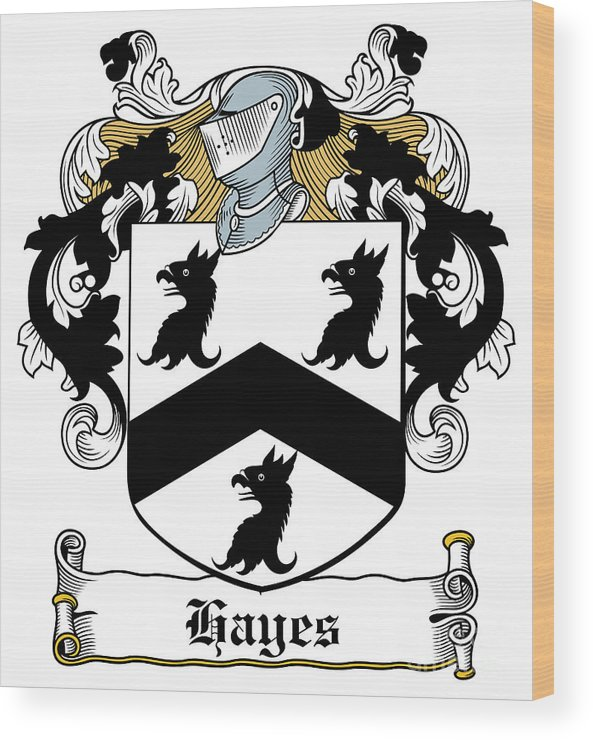 Hayes Wood Print featuring the digital art Hayes Coat Of Arms Donegal Ireland by Heraldry