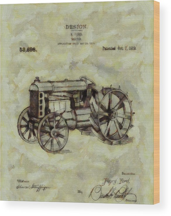 Henry Ford Tractor Patent Wood Print featuring the digital art Henry Ford Tractor Patent by Dan Sproul