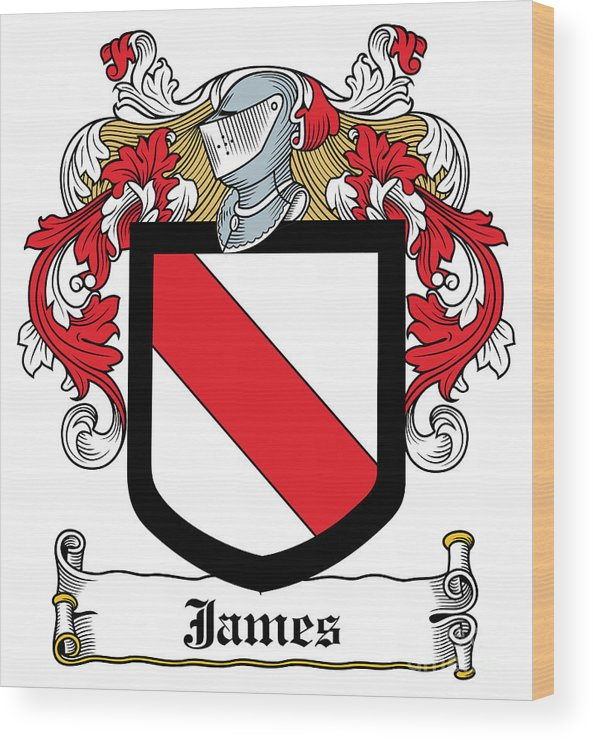 James Wood Print featuring the digital art James Coat Of Arms Irish by Heraldry
