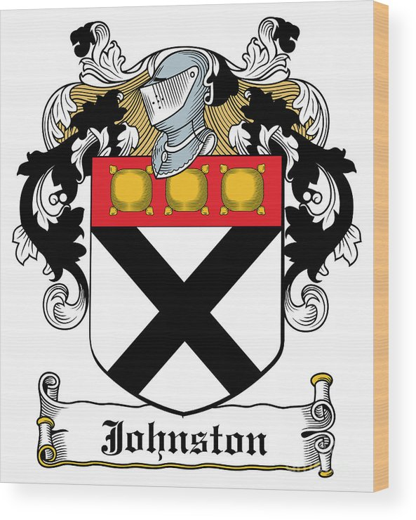 Johnston Wood Print featuring the digital art Johnston Coat Of Arms Irish by Heraldry